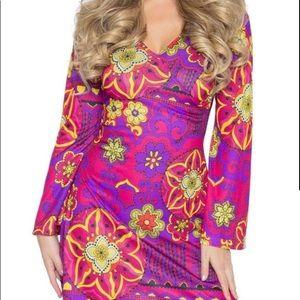 Leg Avenue Pink Hippie Retro Go-Go 60s Dress